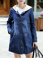 Hooded-Single-Breasted-Detachable-Hood-Plain-Long-Sleeve-Coats