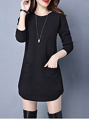 Knit Midi Round Neck  Plain Shift Dress