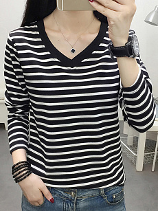 V Neck  Patchwork  Brief  Striped  Long Sleeve T-Shirt