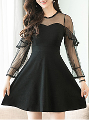 Crew Neck  Decorative Lace Flounce Patchwork Ruffled Hem See-Through  Fake Two-Piece  Plain Skater Dress
