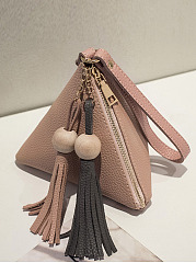 Pink-Triangular-Pyramid-Tassel-Hand-Bag