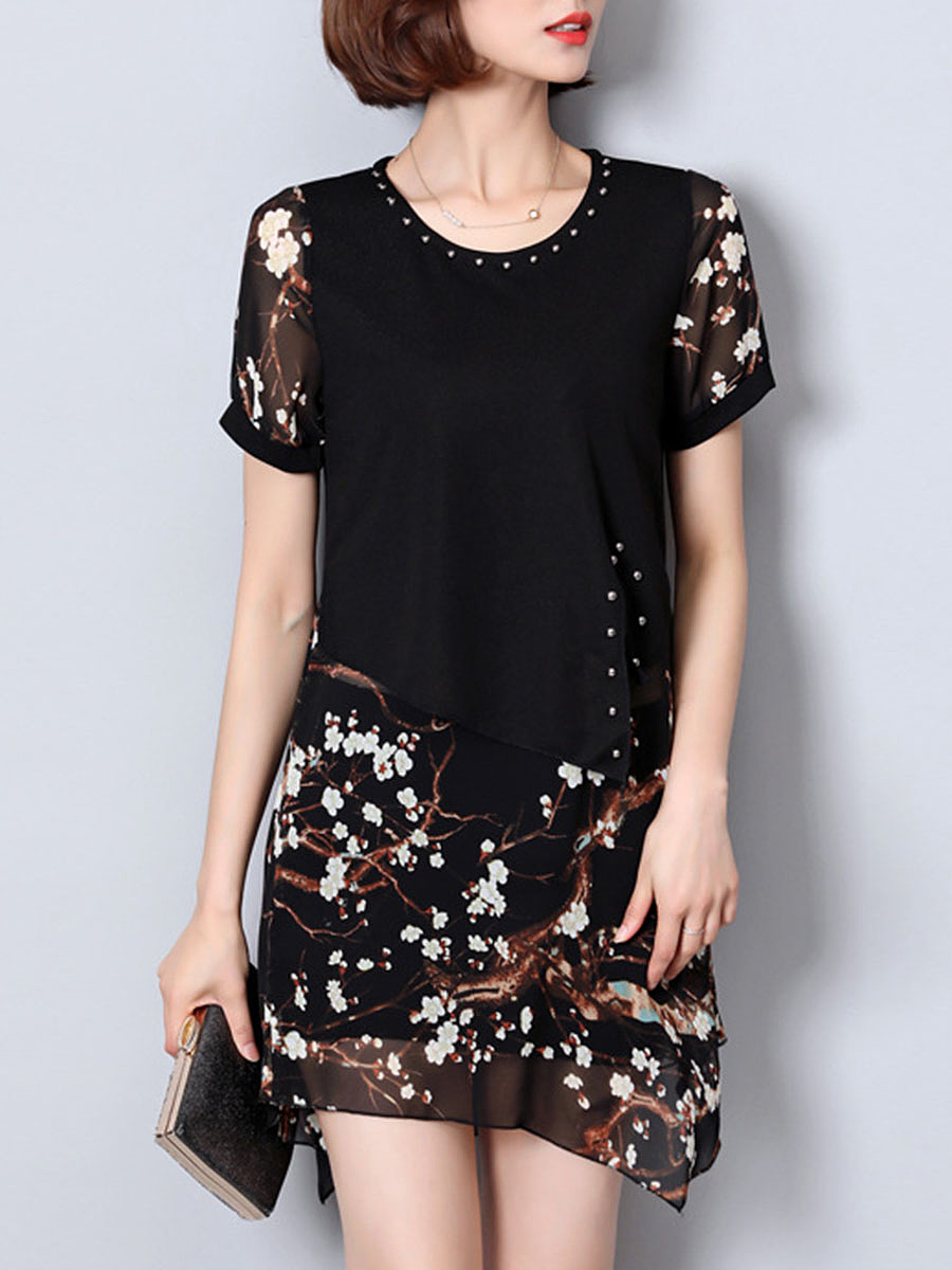 Round Neck  Beading Patchwork  Embroidery  Chiffon Shift Dress