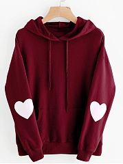 Hooded  Plain  Long Sleeve Heart  Hoodies