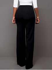 Plain Decorative Button Wide-Leg High-Rise Casual Pants