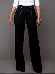 Plain-Decorative-Button-Wide-Leg-High-Rise-Casual-Pants