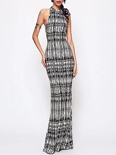 Crew Neck  Backless  Printed Maxi Dress