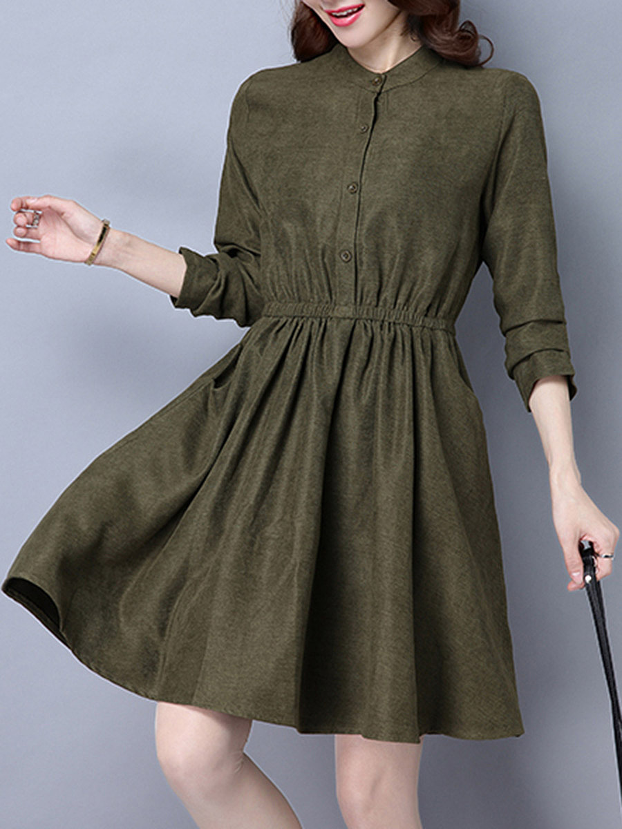 Band Collar Belt Plain Pocket Skater Dress