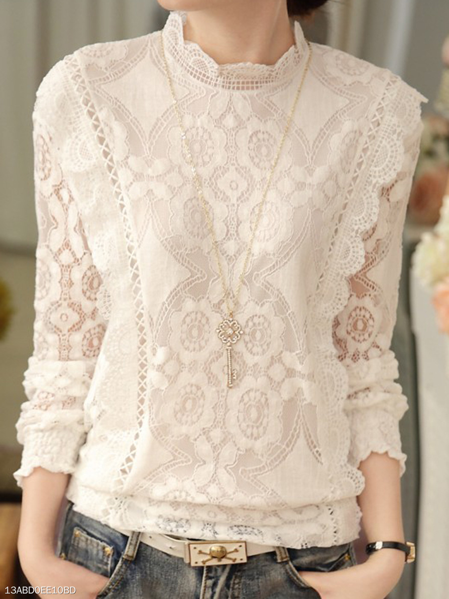 Autumn Spring  Lace  Women  High Neck  Decorative Lace See-Through  Floral Hollow Out  Long Sleeve Blouses