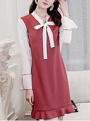 Tie Collar  Contrast Trim  Color Block Shift Dress