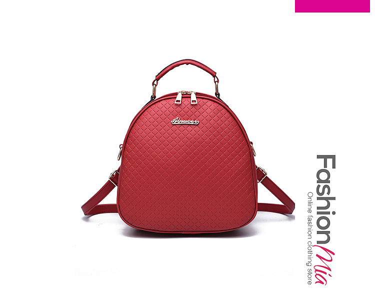 Embossed Plaid Pu Backpack
