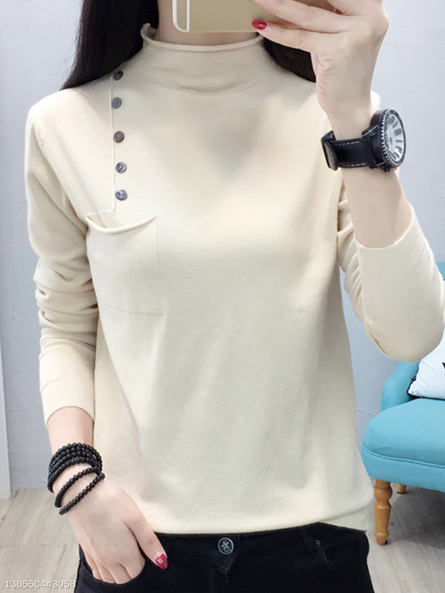 High Neck  Decorative Buttons  Plain Knit Pullover