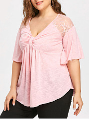 Deep V-Neck  Decorative Lace  Lace  Short Sleeve Plus Size Blouses&T-Shirts