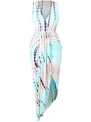 Deep-V-Neck-Asymmetric-Hem-Abstract-Print-Bodycon-Dress