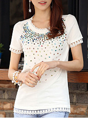 Spring Summer  Cotton  Women  Round Neck  Beading Decorative Lace  Color Block Short Sleeve T-Shirts