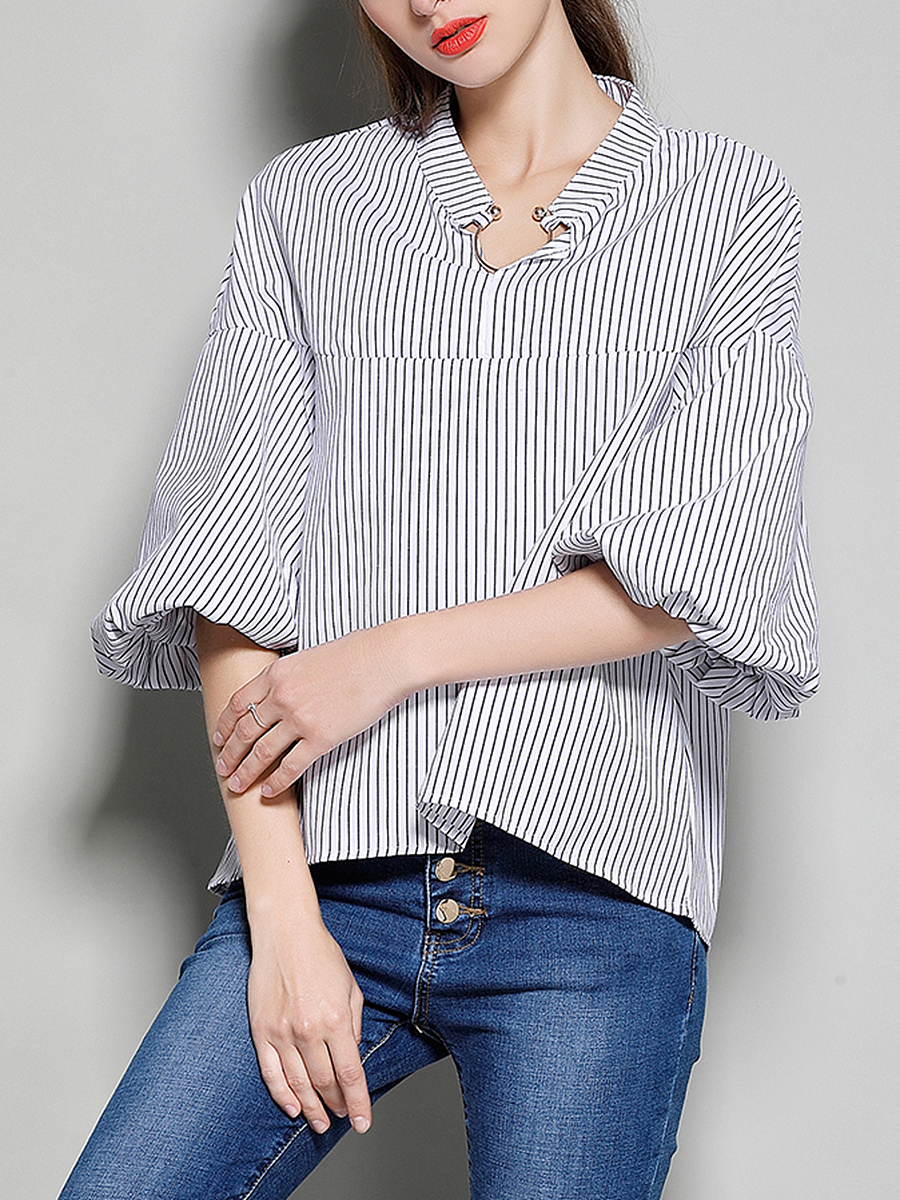Split Neck  Striped  Puff Sleeve Blouse