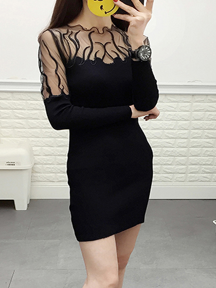 Collarless  Patchwork  Plain  Blend Bodycon Dresses