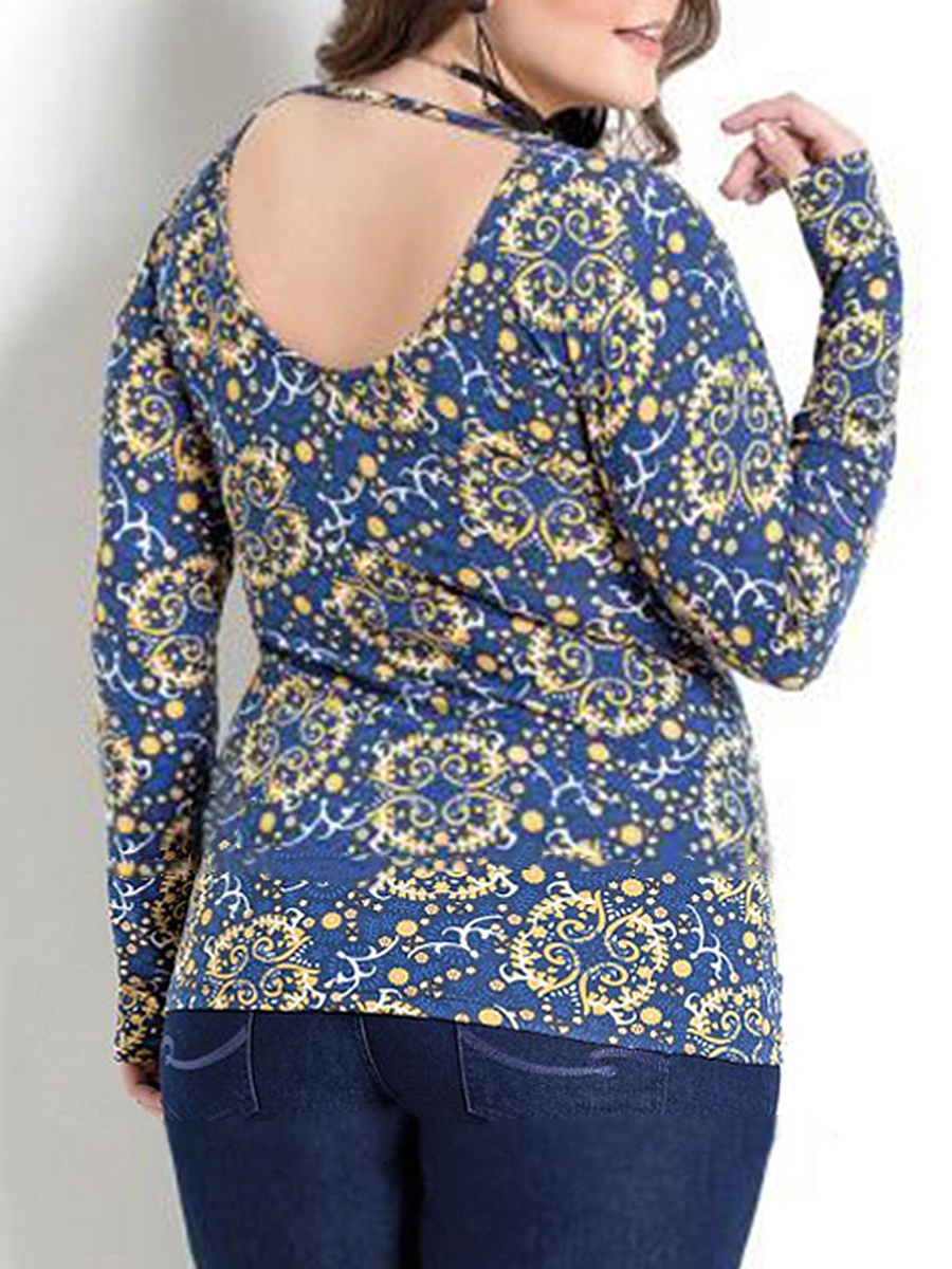 Deep V-Neck  Printed  Long Sleeve Plus Size T-Shirts
