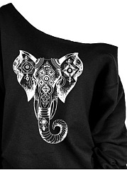 One Shoulder Elephant Printed Sweatshirt
