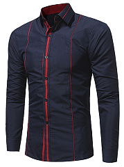 Turn Down Collar Contrast Piping Men Shirts
