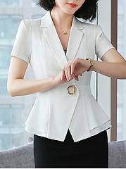 Notch Lapel  Flounce  Single Button  Plain  Short Sleeve Blazers