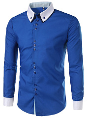 Men-Color-Block-Button-Down-Collar-Shirts