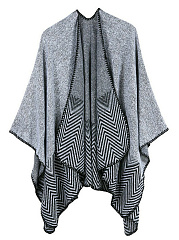 Asymmetric Hem  Color Block Striped  Batwing Sleeve Cardigans
