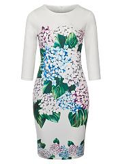 Chic-Floral-Printed-Round-Neck-Slit-Bodycon-Dress