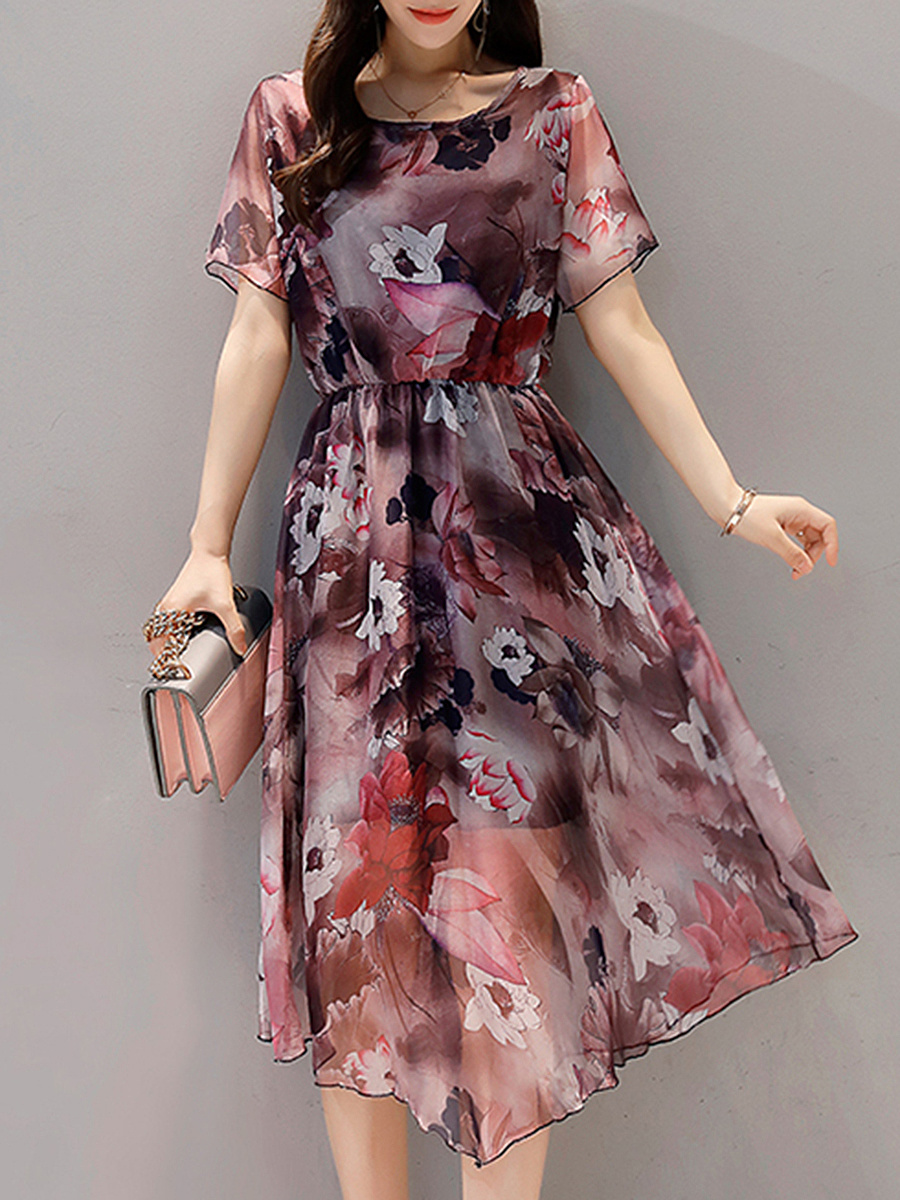 Round Neck  See-Through  Printed  Chiffon Maxi Dress