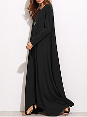 Round Neck  Asymmetric Hem  Plain Maxi Dress