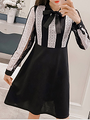 Tie Collar  Patchwork Ruffled Hem  Color Block Lace Skater Dress