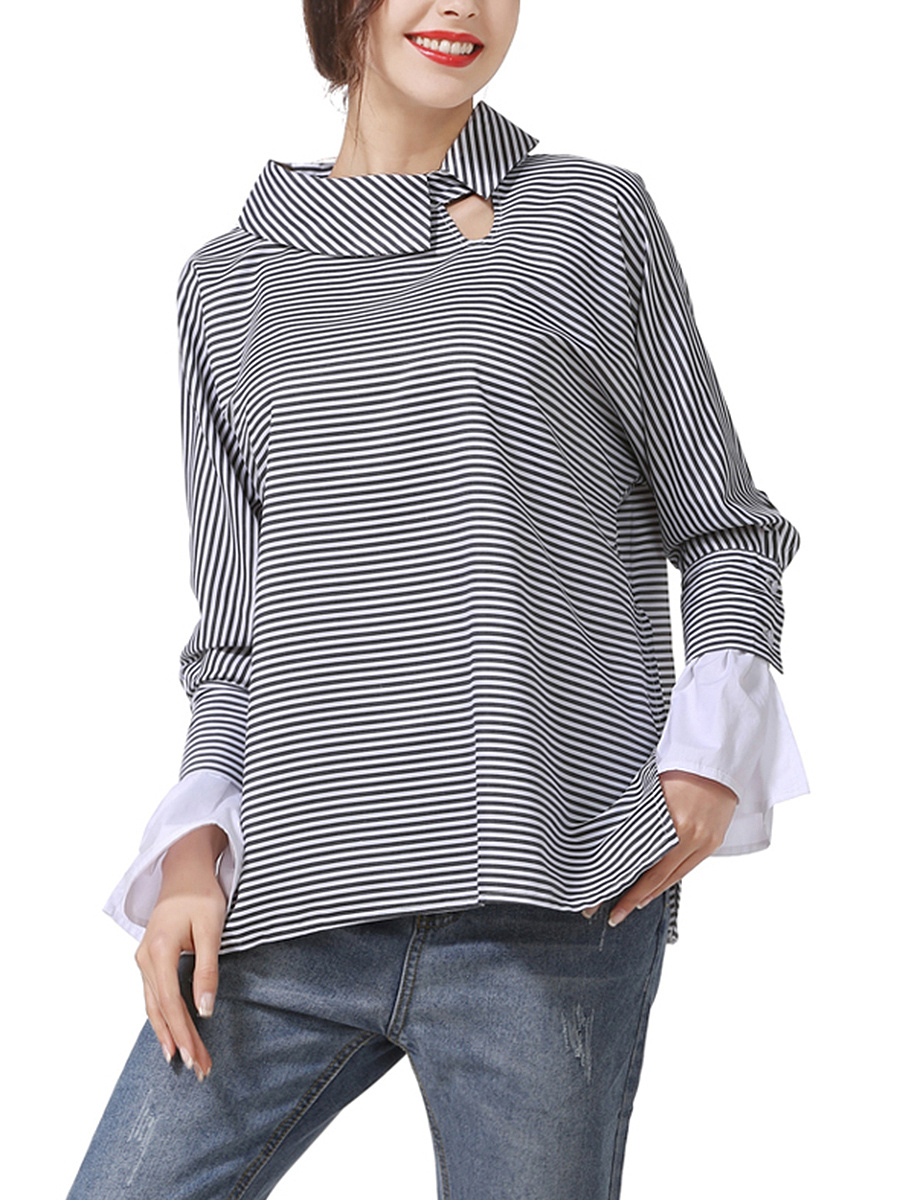 Trendy Doll Collar  Striped Blouse