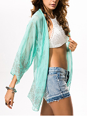 See-Through Snap Front Printed Chiffon Kimono