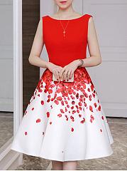 Summer-Round-Neck-Printed-Skater-Dress