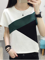 Polyester  Round Neck  Patchwork  Color Block Colouring  Short Sleeve Short Sleeve T-Shirts