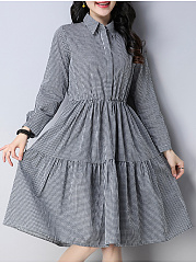 Fold-Over Collar  Decorative Button  Plaid Skater Dress