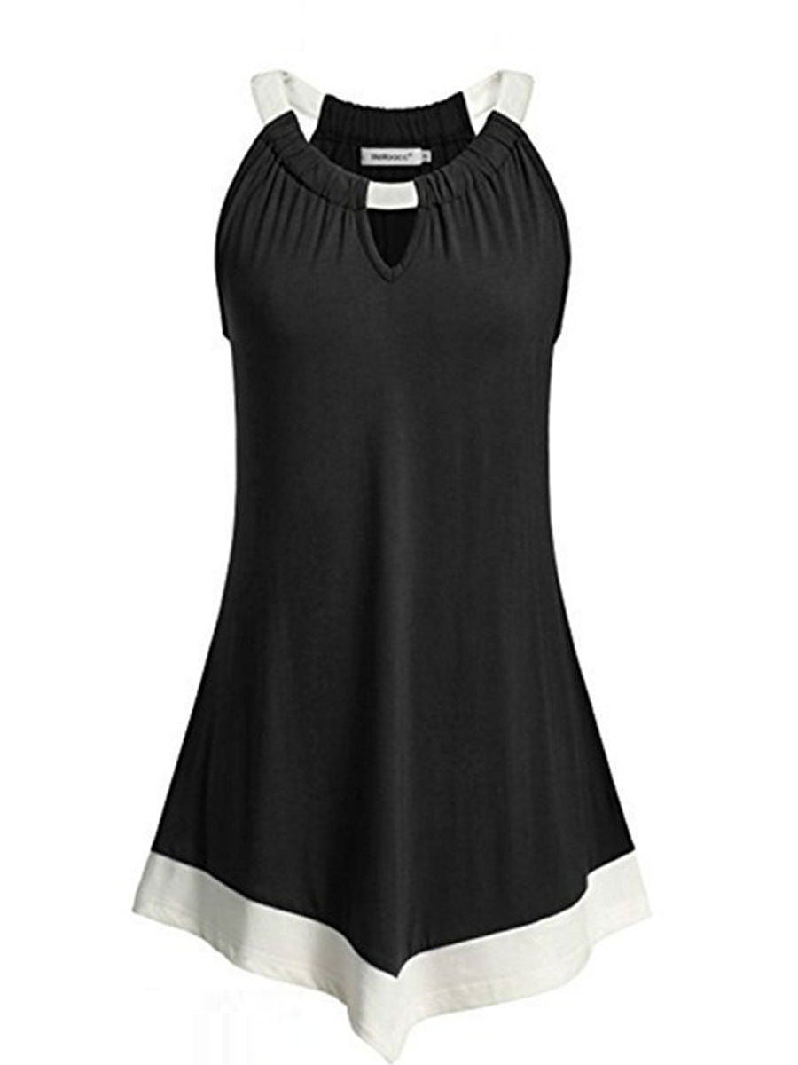 Summer  Polyester  Women  Round Neck  Asymmetric Hem  Contrast Piping  Plain Sleeveless T-Shirts