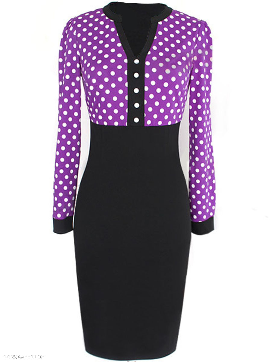 Split Neck  Polka Dot Long Sleeve Bodycon Dress