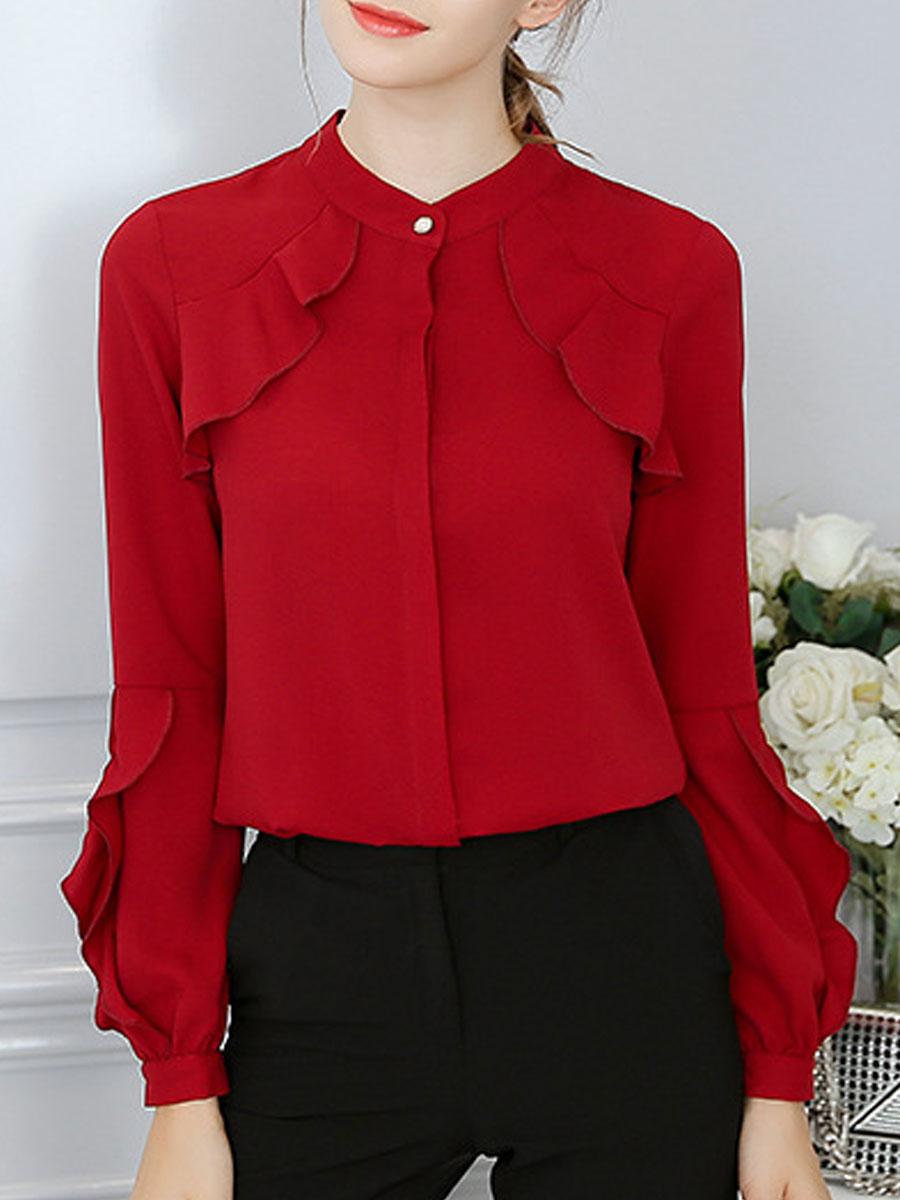 Autumn Spring Polyester Women Collarless Flounce Plain Puff Sleeve Long Sleeve Blouses
