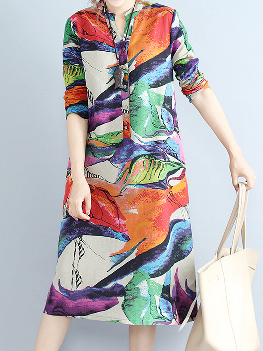 Split Neck Color Block Printed Pocket Maxi Dress