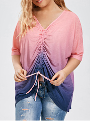V-Neck  Drawstring  Gradient  Half Sleeve Plus Size T-Shirts