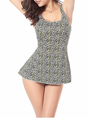 Leopard Skirted Scoop Neck And Back One Piece