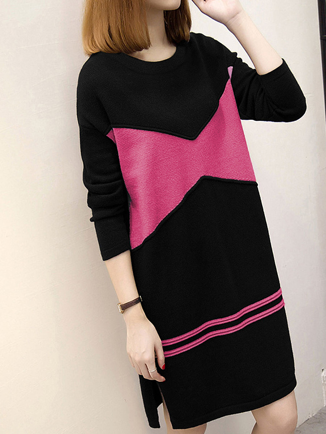 Image of Fashionmia Casual Color Block Round Neck Shift Dress