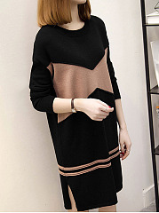 Casual-Color-Block-Round-Neck-Shift-Dress