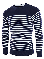 Crew Neck Striped Men'S Sweater
