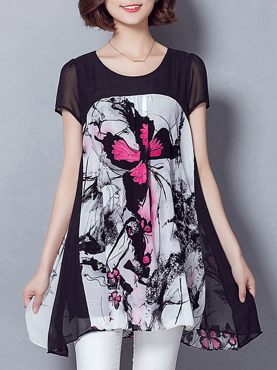 Round Neck Butterfly Printed Chiffon Blouse