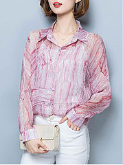 Spring Summer  Polyester  Women  Turn Down Collar  Single Breasted  Gradient  Long Sleeve Blouses