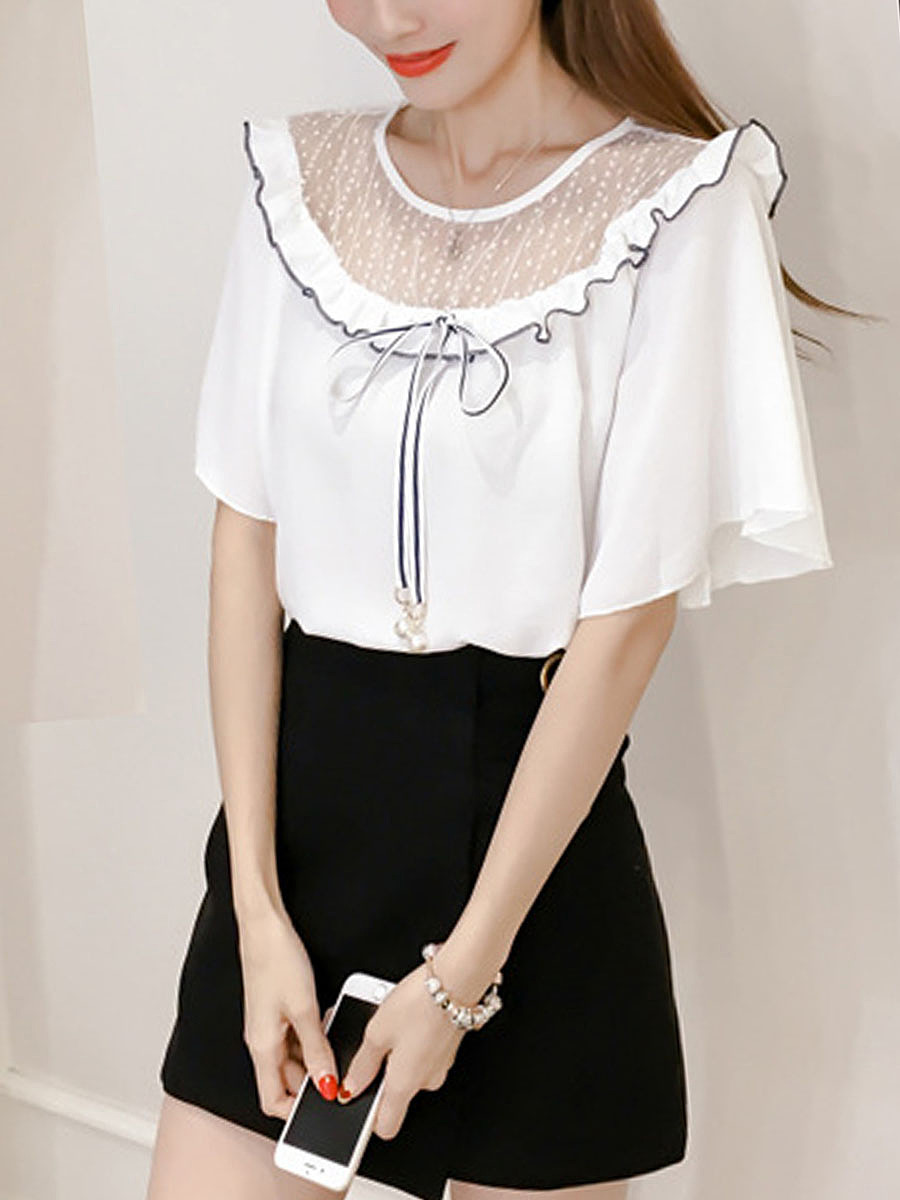 Bowknot Ruffle Trim  Hollow Out Frill Sleeve Blouse