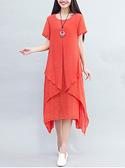 Round Neck  Cutout  Plain Maxi Dress