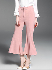 Casual-Plain-Cropped-Flared-Pants