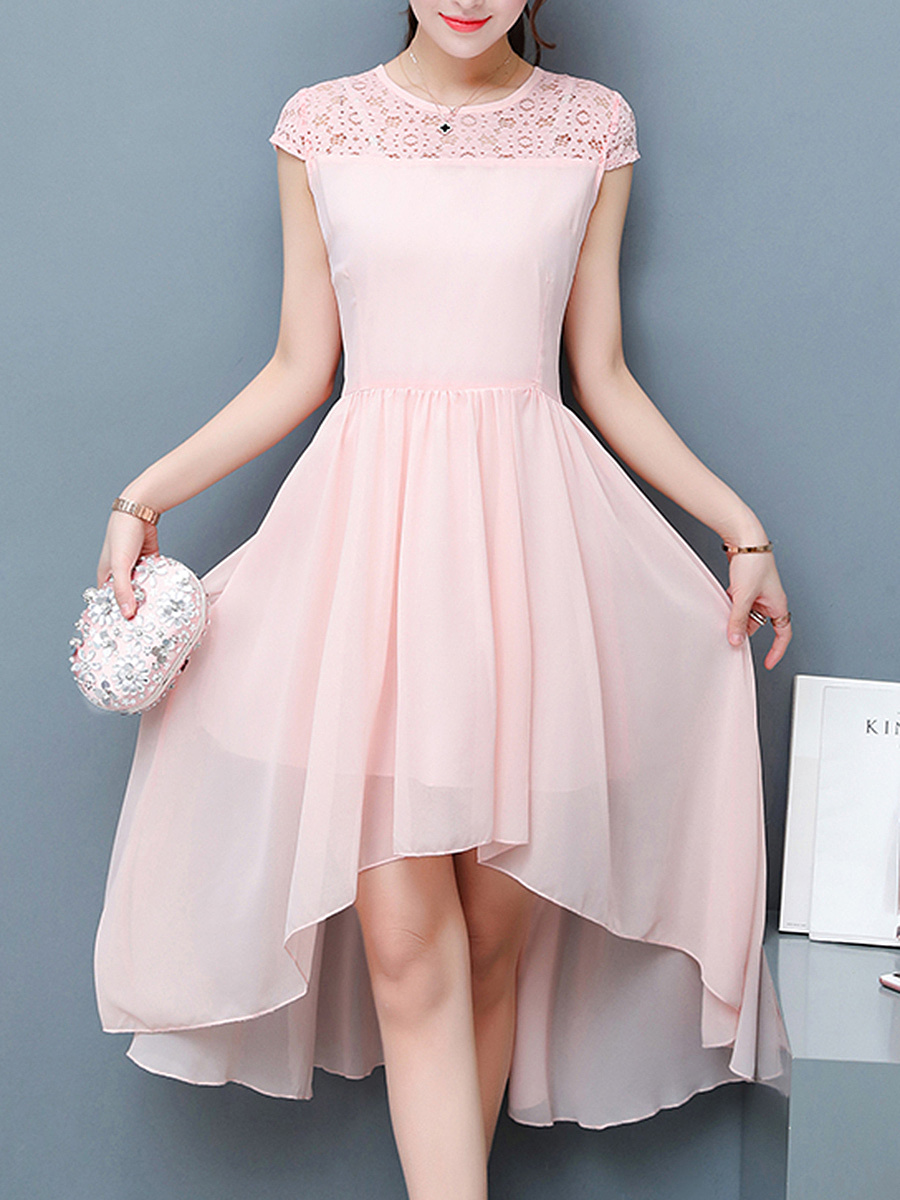 High-Low Hollow Out Plain Round Neck Chiffon Skater Dress